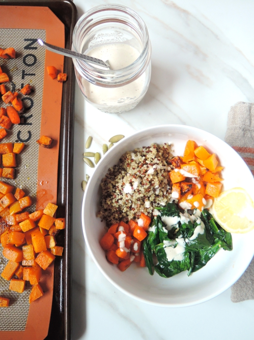 Orange and Green Nourish Bowl with Lemon Tahini Sauce