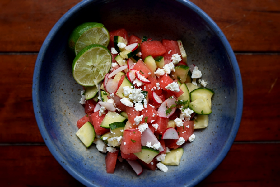 Watermelon Cucumber Salad with a Cilantro-Lime Vinaigrette