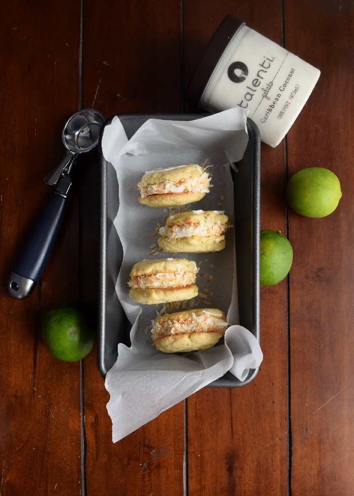 Lime-Coconut Ice Cream Cookie Sandwiches