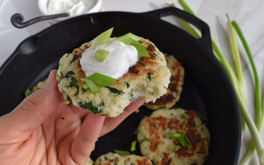 Spinach and Cheese Potato Fritters- Thanksgiving Leftovers