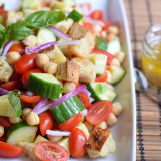 Chickpea panzanella salad. A perfect summer side. #healthy #vegan