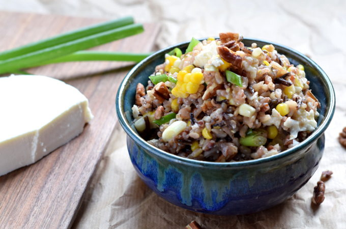 Wild rice salad with corn and queso fresco