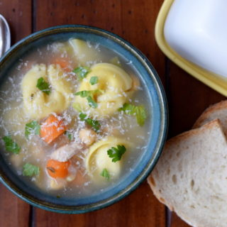 Slow Cooker Tortellini Soup {with leftover Turkey or Vegetarian version}